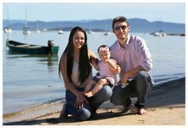Sheilla, Tiago e Luize. Foto familiar, Florianópolis