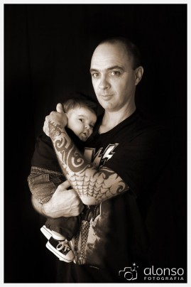 Retrato de estúdio de pai e filho