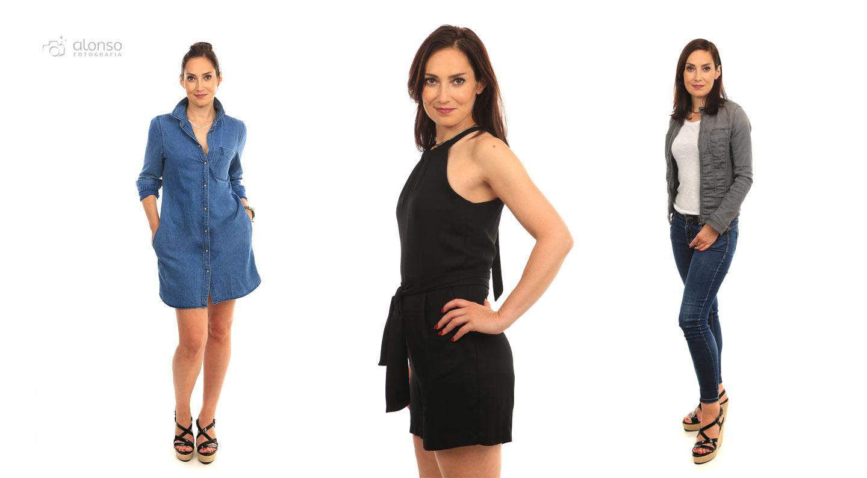Fotografia de roupa em estúdio com modelo